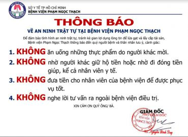 Thông báo về an ninh trật tự tại bệnh viện Phạm Ngọc Thạch