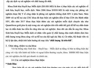 Khoa Sinh Hóa – Huyết Học – Miễn Dịch